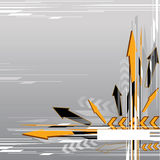 Abstract arrow background. An illustration of black and orange arrows on a grayish background Stock Image