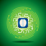 Abstract arrow background with brain. On green background Stock Photos