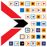 Abstract arrow icons & symbols in squares- vector illustration. The graphic contains 36 flat arrow signs and symbols in blue, red, orange and black colors & Royalty Free Illustration