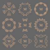 Abstract arrow line frame monogram logos set. Vector Illustration EPS10 Stock Photos