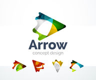 Abstract arrow logo design. Of color pieces, overlapping geometric shapes.  Light and shadow effects Royalty Free Stock Images