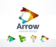 Abstract arrow logo design. Of color pieces, overlapping geometric shapes.  Light and shadow effects Stock Image