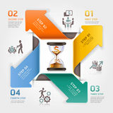 Abstract arrow sand clock concept. Work time management planning infographics template. Vector illustration. can be used for workflow layout, diagram, number Stock Illustration