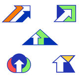 Abstract arrow signs for creating logotypes. Solid fill vector signs for creating logotypes royalty free illustration