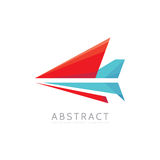Abstract arrow - vector logo template concept illustration in flat style. Stylized airplane creative sign. Colorful design element Royalty Free Stock Image