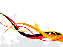 ABSTRACT ARROW WAVES. Abstract arrow background with black wave line,  illustration Stock Photo