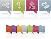 Abstract arrows. Custom abstract arrows icons set to illustrate different directions, all icons are made in 6 different color options placed at a separate layers vector illustration