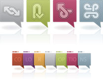 Abstract arrows. Custom abstract arrows icons set to illustrate different directions, all icons are made in 6 different color options placed at a separate layers stock illustration