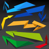 Abstract arrows on black backgound. Royalty Free Stock Photography