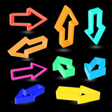 Abstract arrows on black backgound. Royalty Free Stock Images
