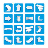 Abstract arrows on blue. Set of paper arrows. Abstract arrows on blue background. Set of paper arrows stock illustration