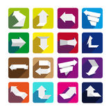 Abstract arrows on colorful buttons. Abstract arrows on colorful background. Set of paper arrows royalty free illustration