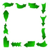Abstract arrows, frame, green. Arrows icons set of different abstract forms, green recycling concept, isolated on white Royalty Free Stock Images
