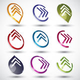 Abstract arrows icons set. Abstract arrows icons set, round symbols vector collection Royalty Free Stock Photography