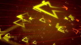 Abstract arrows opposing each other. Impressive 3d illustration of big yellow arrows flying at small orange arrows in the dark brown background covered with a Stock Illustration