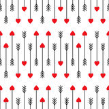 Abstract arrows with red hearts illustration. Cupid's arrows seamless pattern. Abstract arrows with red hearts illustration. Cute arrows background for Royalty Free Illustration