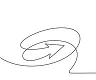 Abstract arrows sign. Continuous line drawing icon. Vector illustration Stock Image