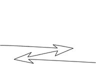 Abstract arrows sign. Continuous line drawing icon. Vector illustration Stock Photos