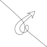 Abstract arrows sign. Continuous line drawing icon. Vector illustration Stock Photography
