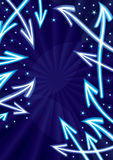 Abstract Arrows Stars Space_eps. Illustration of arrows indicate center with shining stars Stock Photos