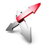 Abstract Arrows Success Leadership Red Metallic Icon. 3d Render Illustration Stock Photography