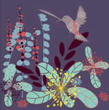 Abstract art. Abstract autumn vector illustration - flying bird with flowers Stock Images