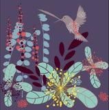Abstract art. Abstract autumn vector illustration - flying bird with flowers Stock Illustration