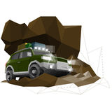Abstract, art, auto, automobile, car, concept, creative, design, draft, exhibition, green, hatchback, icon, illustration, isolated. Low poly offroad design royalty free illustration