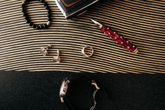 Different items on the table, men`s set royalty free stock photography