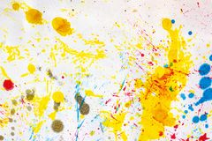 Abstract art background. Colored ink on paper. Blue and yellow light texture. Ink spots. Modern Art Stock Photos