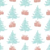 Abstract art  background. Christmas tree seamless pattern illustration for wrapping paper of fabric. Concept winter background Stock Image
