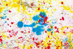 Abstract art background. Colored ink on paper. Blue and yellow light texture. Ink spots. Modern Art Royalty Free Stock Image