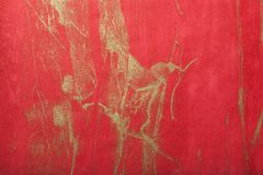 Abstract art background dark red with gold color. Multicolor painting on canvas stock image