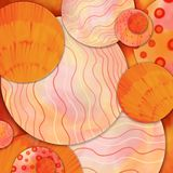 Abstract art background design, modern art style wavy stripes and abstract circles in pink red orange and yellow layered in random. Orange and pink abstract art Royalty Free Stock Photography