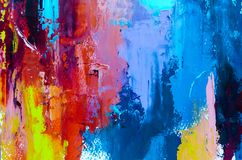 Abstract oil painting background. Oil on canvas texture. Hand dr. Abstract art background. Multicolored bright texture. Contemporary art. Oil painting on canvas stock illustration