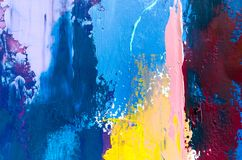 Abstract oil painting background. Oil on canvas texture. Hand dr. Abstract art background. Multicolored bright texture. Contemporary art. Oil painting on canvas vector illustration