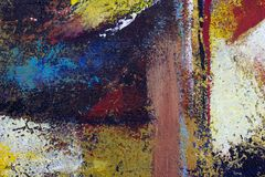 Abstract art background. Oil painting on canvas. Multicolored bright texture. Fragment of artwork. Spots of oil paint. Brushstrokes of paint. Modern art Royalty Free Stock Image