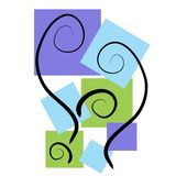 Abstract Art Backgrounds Blue. An abstract clip art illustration of abstract square shapes in blue and green casually placed with black swirls meant as a Stock Images