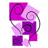 Abstract Art Backgrounds Pink. An abstract clip art illustration of abstract square shapes in purple tones casually placed with black swirls meant as a Royalty Free Stock Photo