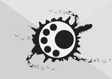 Abstract art circular logo with black ink splash background Royalty Free Stock Photos