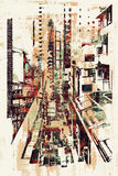 Abstract art of cityscape. Illustration painting Royalty Free Stock Photography