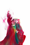 Abstract art, color splashing on white background. Abstract creative painting, modern art. Shape, color splashing on white background. Colorful smoke, ink in Stock Images