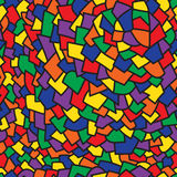 Abstract art colorful geometric seamless pattern. With black outline royalty free illustration