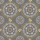 GOLD SILVER MANDALA, SCARF, GOLDCHAIN, HEXAGON SEAMLESS PATTERN ILLUSTRATION royalty free illustration
