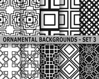 Abstract art deco geometric seamless patterns. Set. Template for design Stock Photo