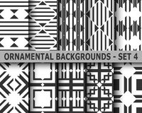Abstract art deco geometric seamless patterns. Set. Template for design Royalty Free Stock Photo