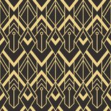Abstract art deco geometric tiles pattern. Vector modern geometric tiles pattern. golden lined shape. Abstract art deco seamless luxury background stock illustration