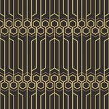 Abstract art deco geometric tiles pattern. Vector modern geometric tiles pattern. golden lined shape. Abstract art deco seamless luxury background Royalty Free Stock Image