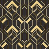 Abstract art deco geometric tiles pattern. Vector modern geometric tiles pattern. golden lined shape. Abstract art deco seamless luxury background Royalty Free Stock Photography