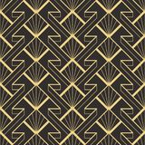 Abstract art deco modern geometric tiles pattern. Vector modern geometric tiles pattern. golden lined shape. Abstract art deco seamless luxury background stock illustration